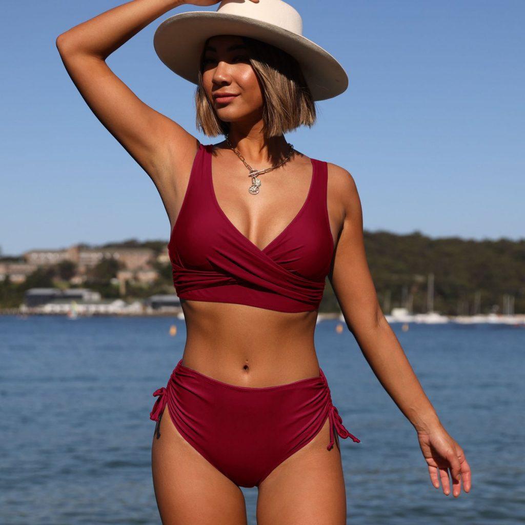 Beachsissi twist front drawstring side high waisted bikini set